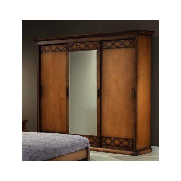 Guarda-roupas Três Portas De Correr Com Espelho (3,08m) - Linha Safira