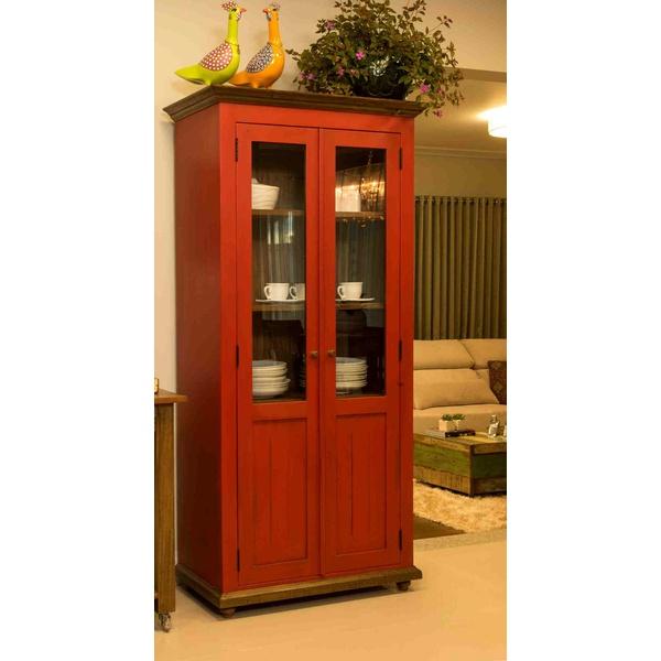 Cristaleira Vermelha 2 Portas, 3 Prateleiras - Madeira De Demolição