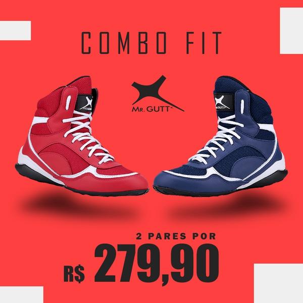 Combo Fit- Kit 2 pares Bota Fitness Treino - Vermelho/Azul