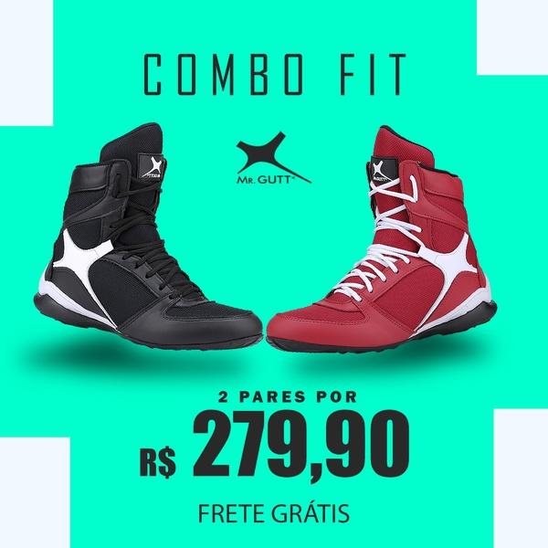 Combo Fit - Kit 2 pares Bota Fitness Treino - Vermelho/Preto