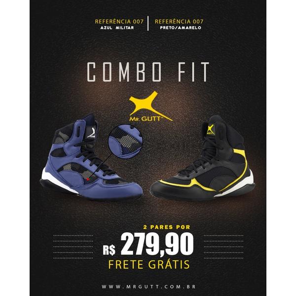 Combo Fit - 2 pares Bota Fitness Treino - Azul Militar- Preto/Amarelo