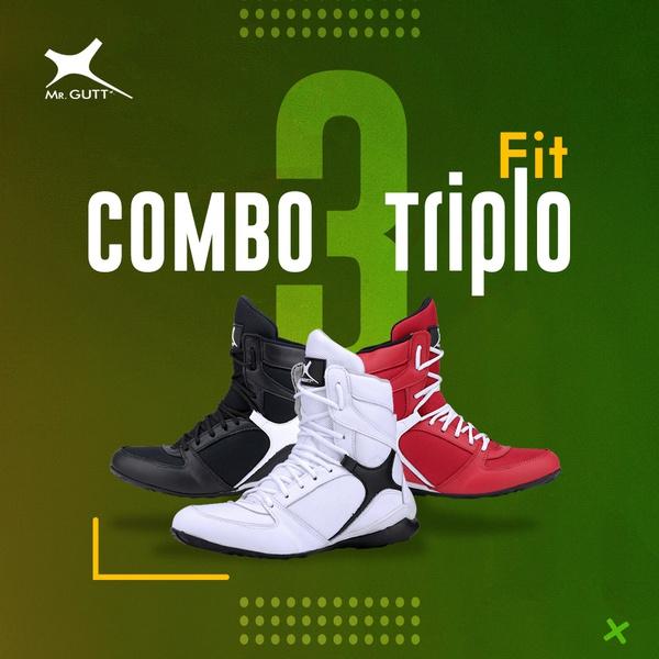 Combo Triplo Fit - 3 pares Bota Fitness Azul/Rosa/Laranja Copia