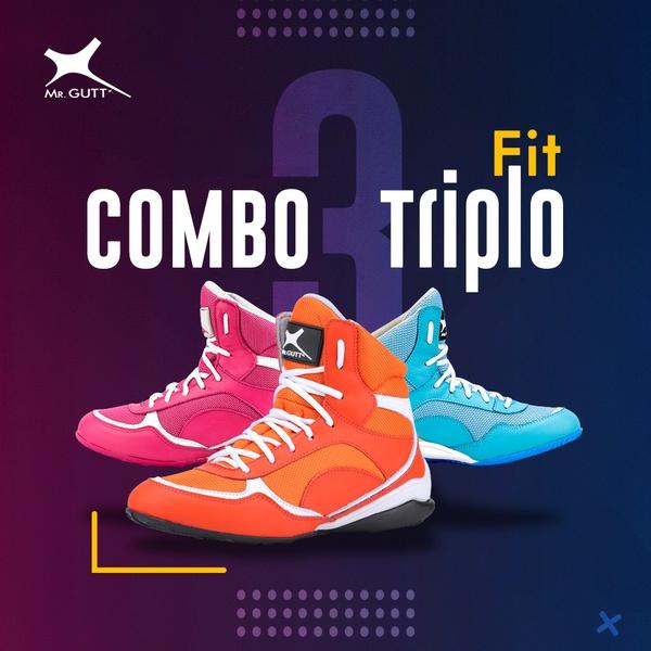 Combo Triplo Fit - 3 pares Bota Fitness Azul/Rosa/Laranja
