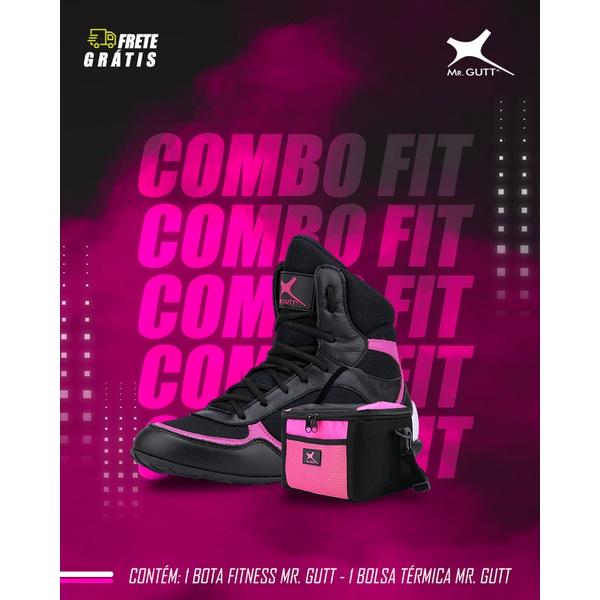 Combo Fit Especial - 01 Bota Fitness + 01 Bolsa Térmica Fitness - Preto/Rosa