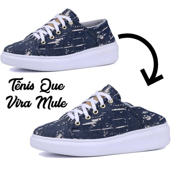 Tênis Casual Que Vira Mule Jeans Plataforma