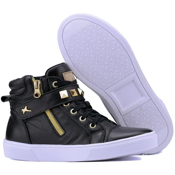 Bota Sneaker Casual Mr Gutt em Couro Legítimo Preto Com Pedras