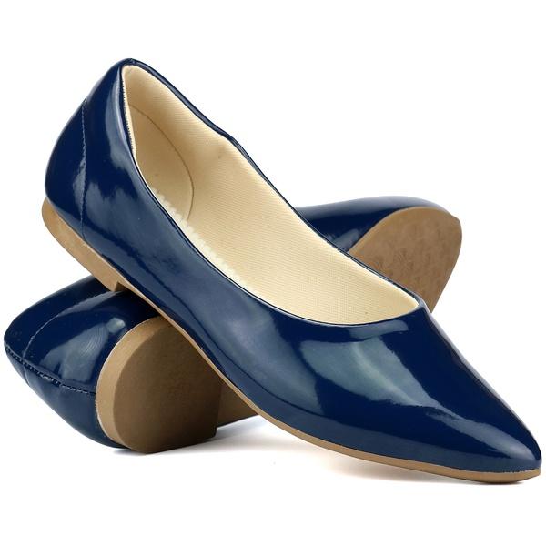 Sapatilha Feminina Bico Fino Mr. Gutt em Verniz Azul