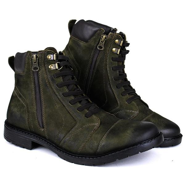 Coturno Masculino Trend Couro Nobuck Esconvado Militar 626