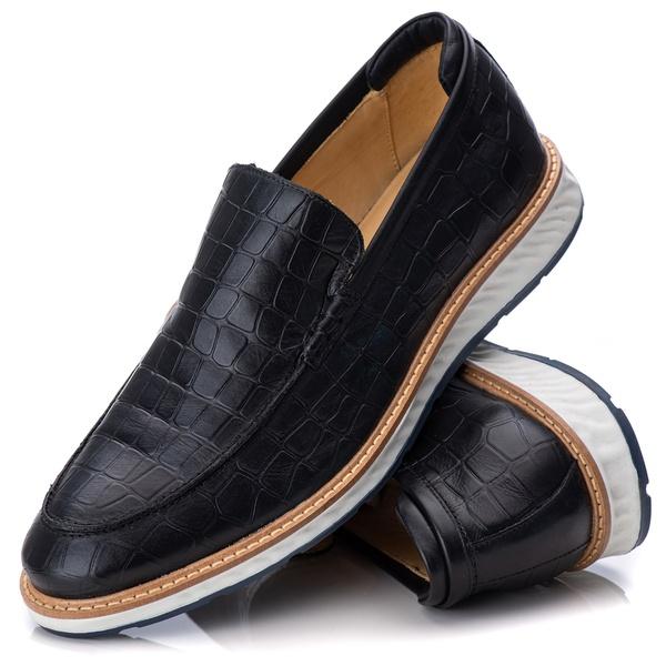 9002 Loafer Elite Couro Premium Croco Preto