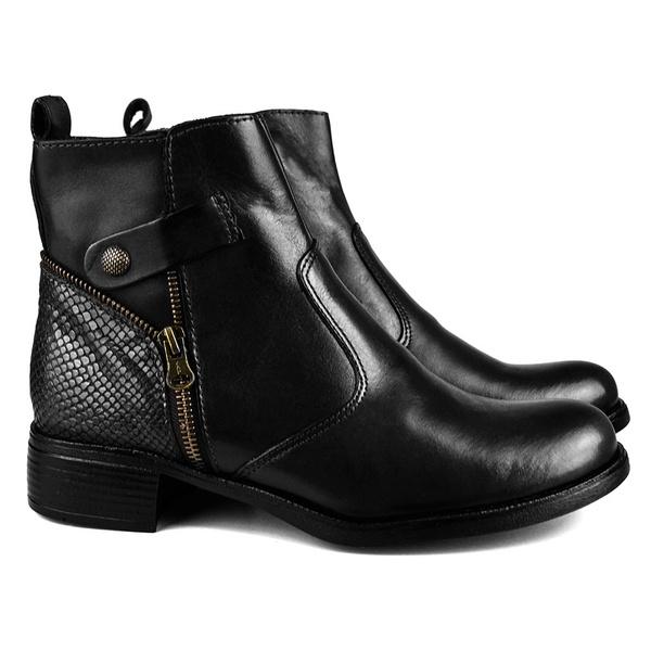 Coturno Feminino Montaria Em Couro Comfort Cobra Preto Grécia 2504