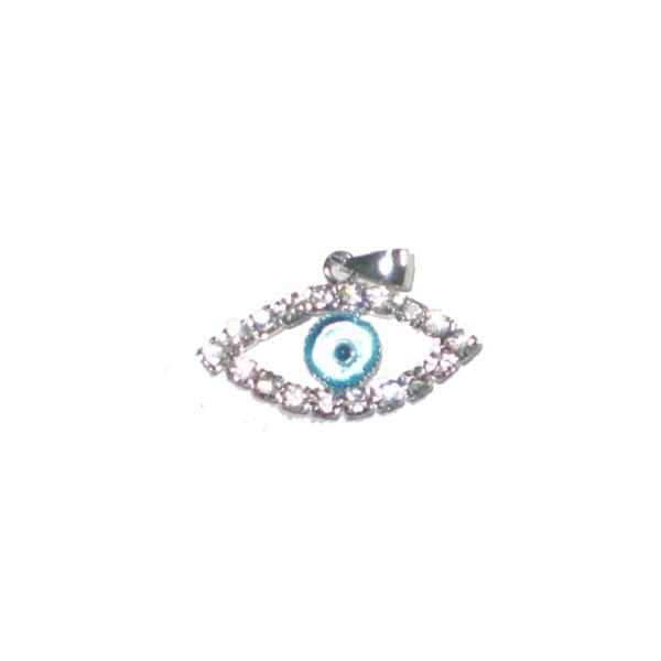 Pingente De Prata Olho Grego: com strass em formato de olho: Tendência Que Atrai Sorte E Proteção Semi Joias Finas Musa Kalliopi