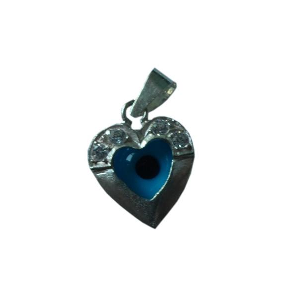 Pingente Tamanho: 1,1 x 0,5 lg cm de prata Olho Grego (Coração) : a tendência que atrai sorte e proteção semi joias finas Musa Kalliopi
