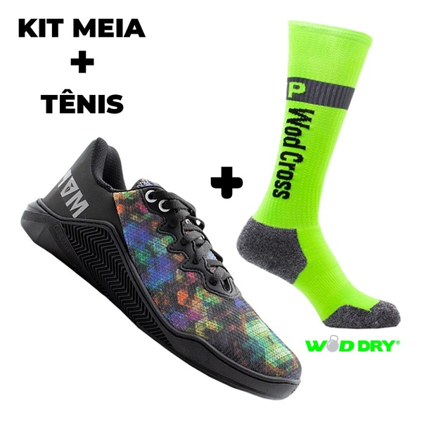 Kit Tênis MVP para Crossfit - Abstrato + Meia Wod Dry Neon Fluor