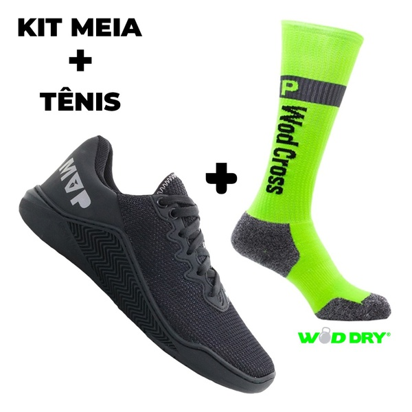 Kit Tênis MVP para Crossfit - Black + Meia Wod Dry Neon Fluor