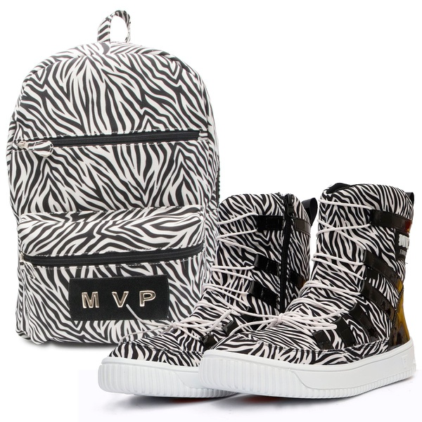 KIT Mochila Club Fashion + Tênis MVP Hard Shape - Zebra White