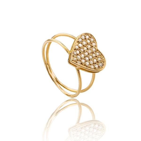 Anel Coração Diamantes