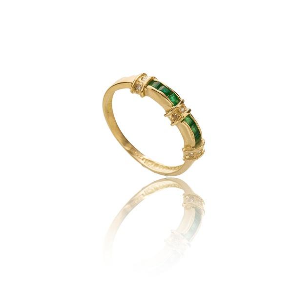 Anel De Esmeralda Cravação Invisível e Diamantes