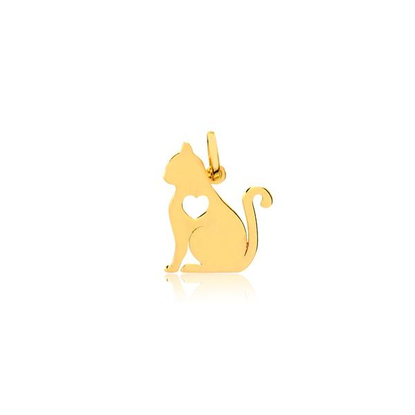 Pingente Gato Vazado Coração