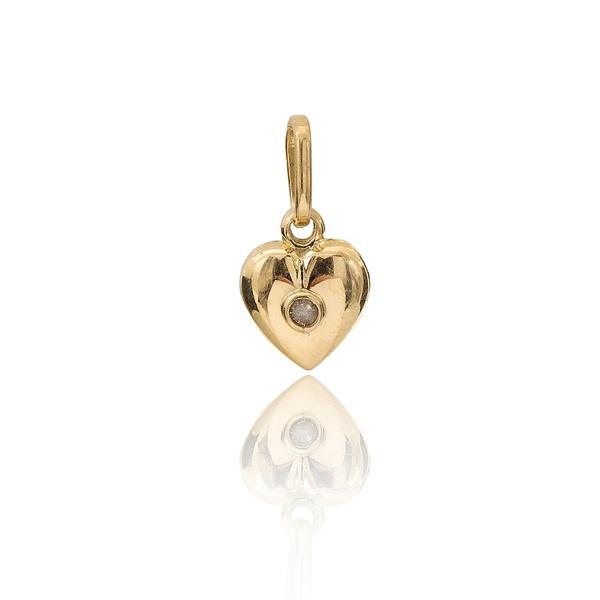 Pingente Coração Com 1 Diamante