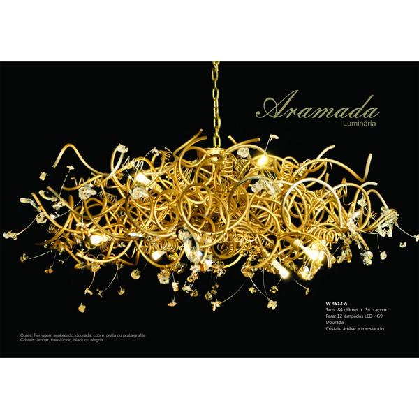 Luminária Aramada Dourado G9 Bivolt Helizart
