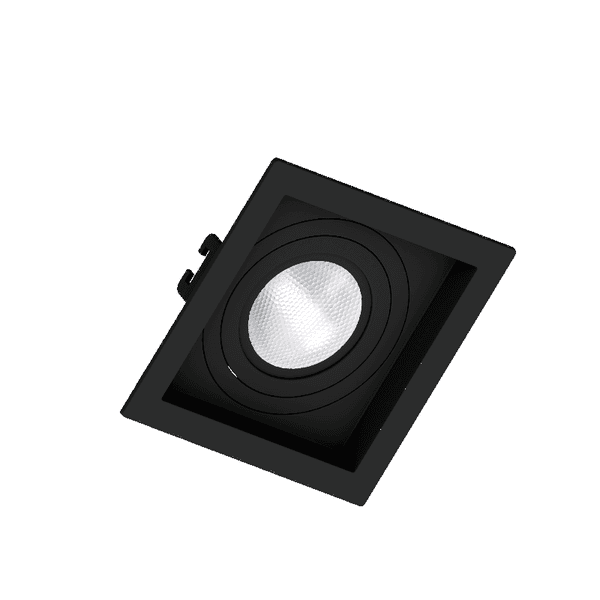 Embutido Quadrado Recuado Dicroica GU10 Preto Save Energy