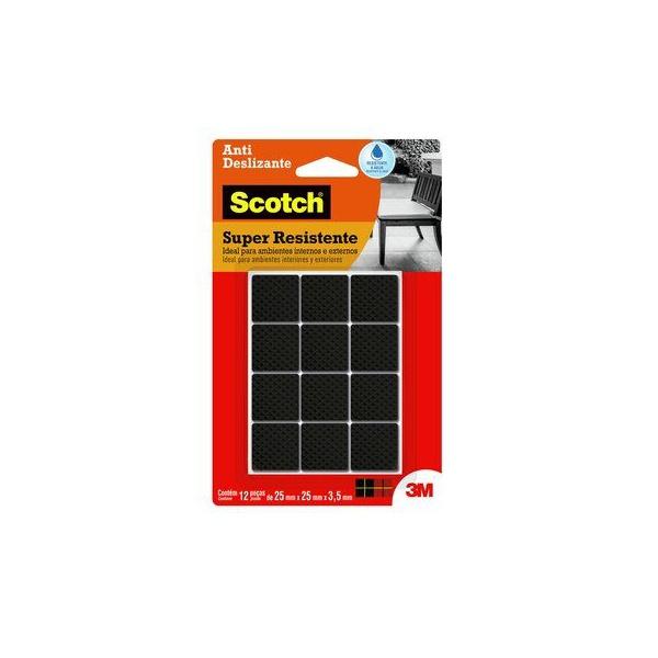 Protetor Antideslizante 3M Scotch™ Quadrado Preto Médio - 12 unidades