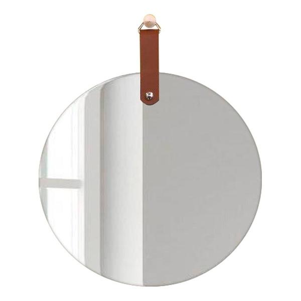 Espelho Redondo Slim com alça Caramelo 55 cm