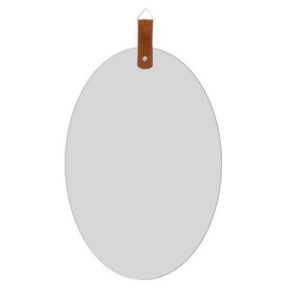 Espelho Oval Slim com Alça Caramelo 55cm Reduna PD1224