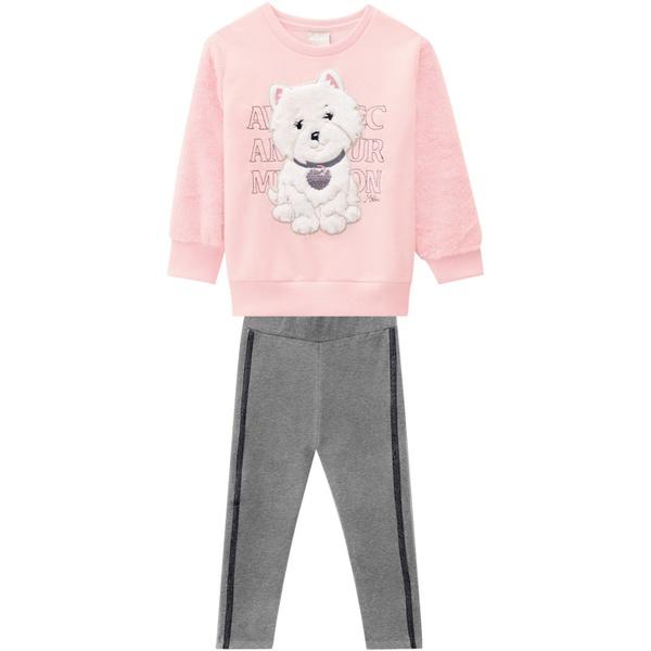 Conjunto Blusa Moletom e Calça Legging Milon Bebê Feminino Tamanho 1 ao 3