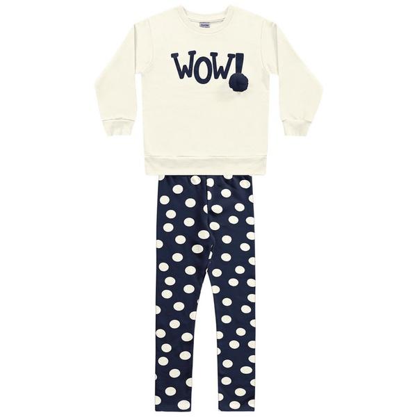 Conjunto Blusa Moletom e Legging Flanelada Fakini Infantil Feminino Tamanho 4 ao 10