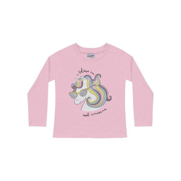 Blusa Manga Longa Fakini Bebê Feminina Estampa Unicórnio Rosa Tamanho 1-2-3