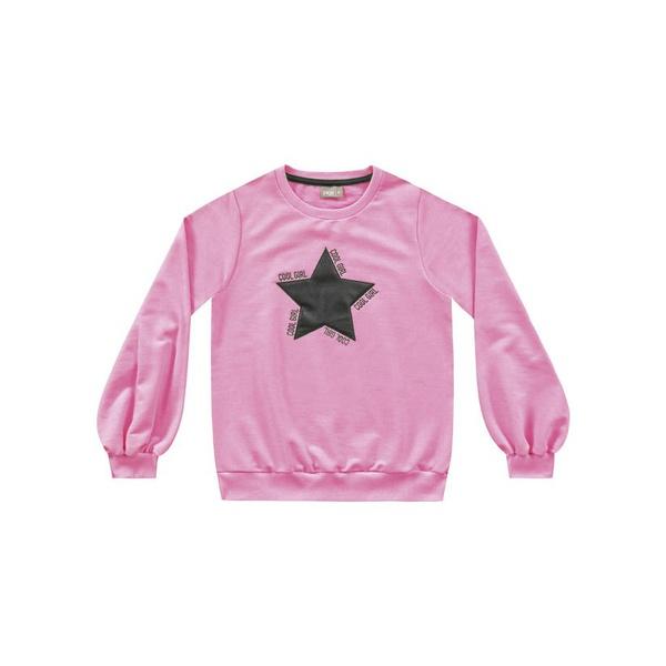 Blusa Moletom Fakini Infantil Feminina Rosa Neon Tamanho 12-14-16