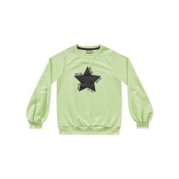 Blusa Moletom Fakini Infantil Feminina Verde Neon Tamanho 12-14-16