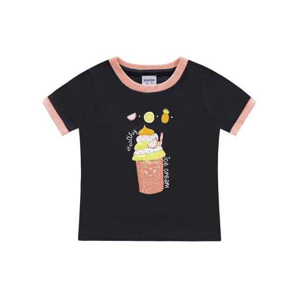 Blusa Fakini Bebê Feminina 1-2-3 Preta com Neon
