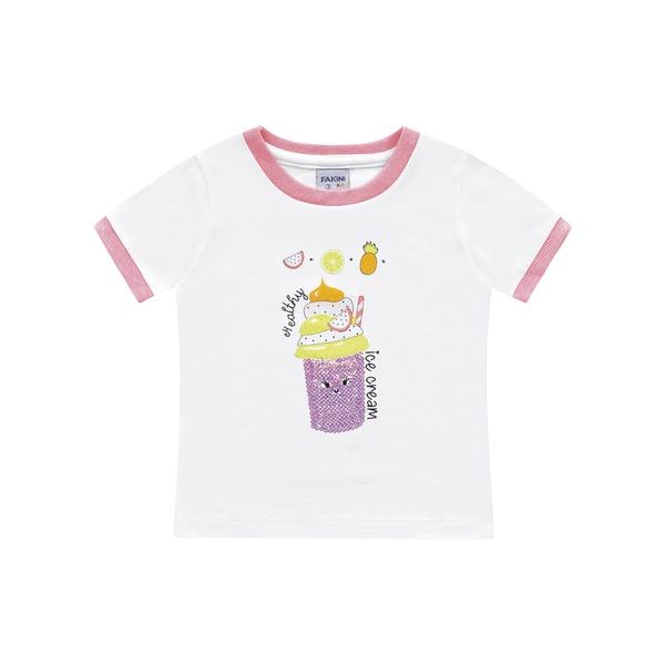 Blusa Fakini Bebê Feminina 1-2-3 Branco com Neon