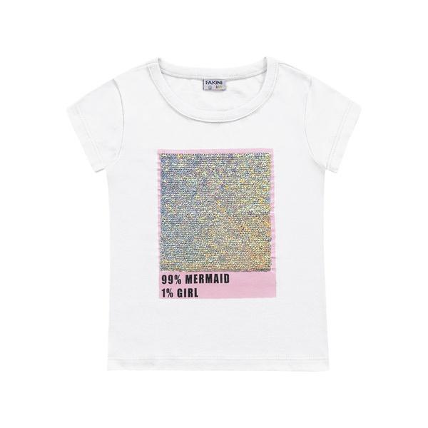 Blusa Fakini Infantil Feminina 4 ao 10 Branca com Lantejoula Reversível