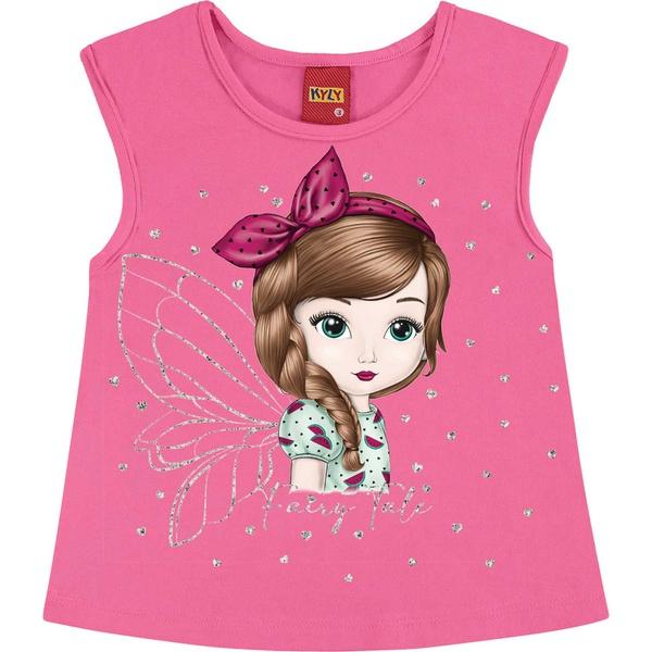 Blusa Kyly Infantil Feminina 4-6-8 Rosa com Glitter
