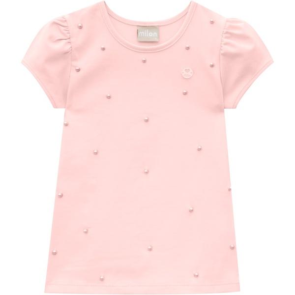 Blusa Milon Bebê Feminina com Pérolas Rosa Tamanho 1 ao 3