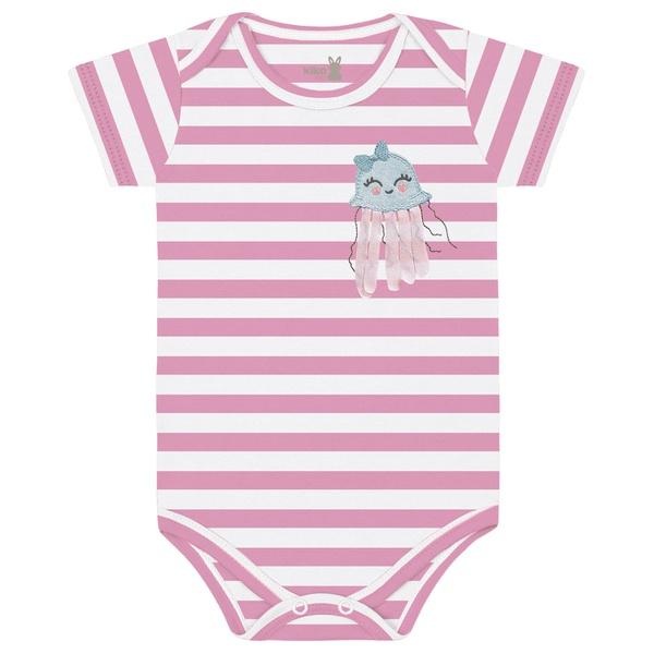 Body Kiko Baby Bebê Feminino RN ao G - Salmão Listrado
