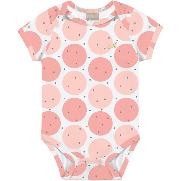 Body Milon Bebê Feminino Estampado Rosa