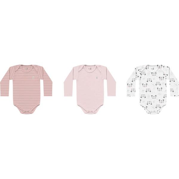 Kit 3 Bodys Manga Longa Kiko Baby Bebê Feminino Tamanho RN ao G