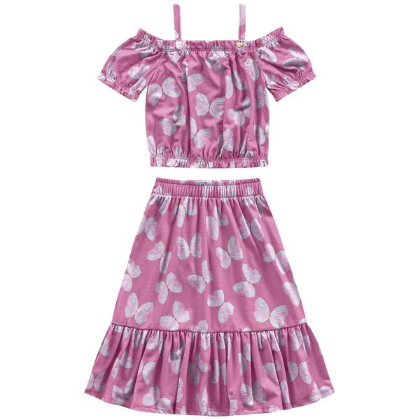Conjunto Fakini Infantil Feminino 4 ao 10 Borboletas Rosa