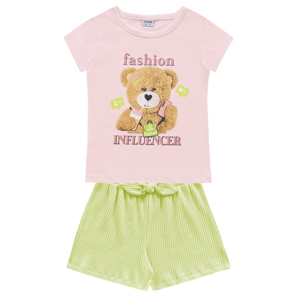 Conjunto Fakini Infantil Feminino 4 ao 10 Rosa com Verde