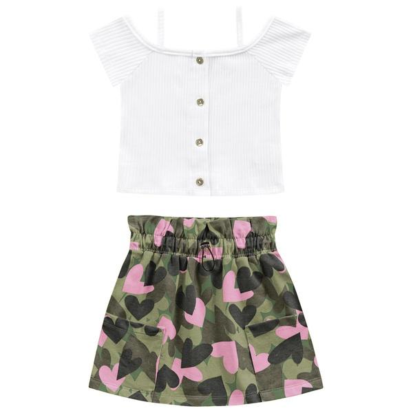 Conjunto Fakini Infantil Feminino 4 ao 10 Branco com Verde Militar