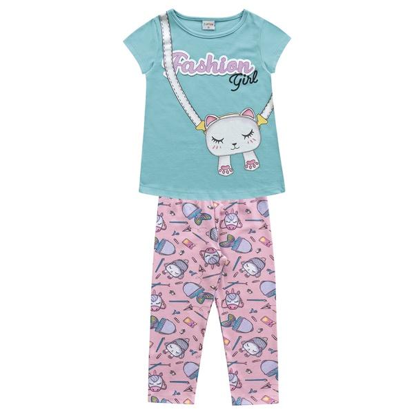 Conjunto Fakini Infantil Feminino 4-6-8 Turquesa com Rosa