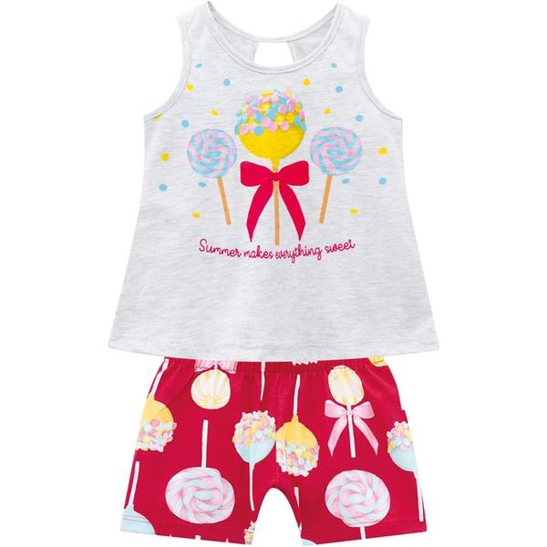 Conjunto Kyly Bebê feminino Verão Estampa Pirulitos
