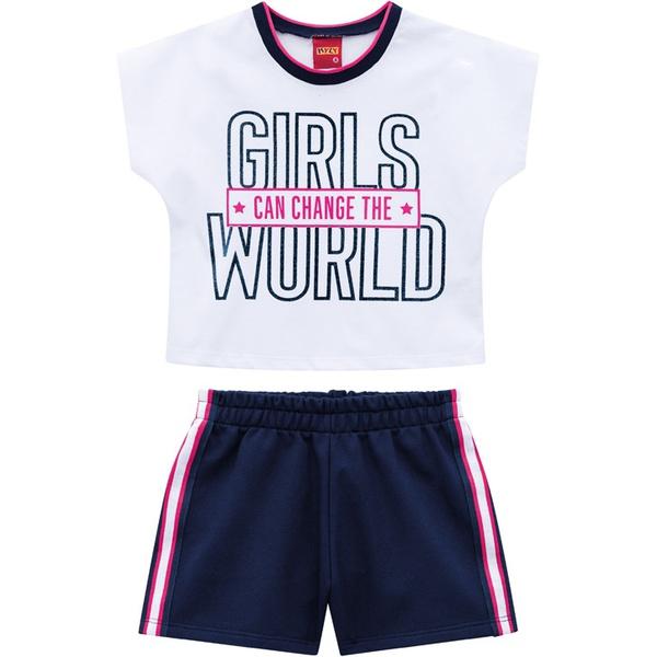 Conjunto Kyly Infantil Feminino Cropped e Short Moletinho