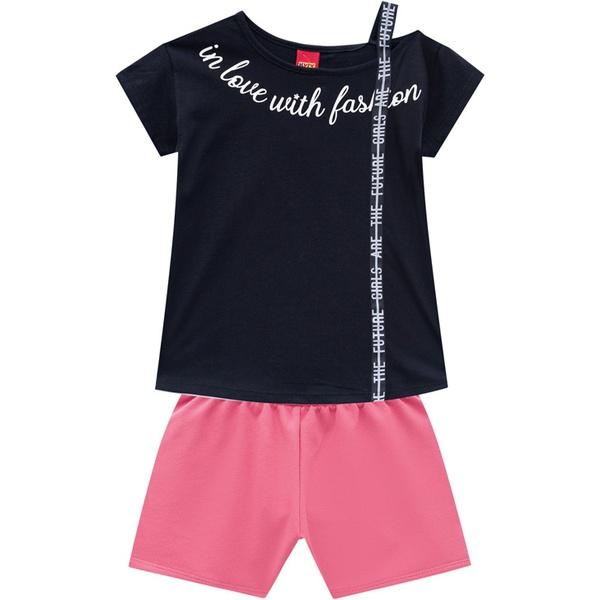 Conjunto Kyly Infantil Feminino Blusa + Short Moletinho