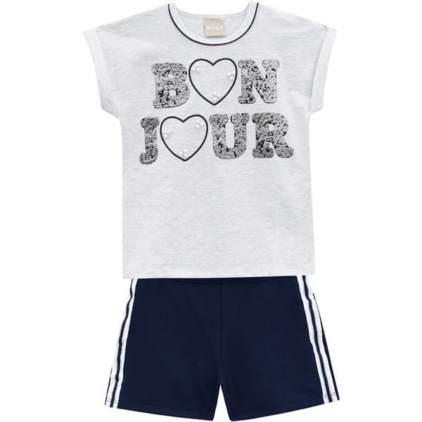 Conjunto Milon Feminino Infantil Blusa Bordada + Short Moletom