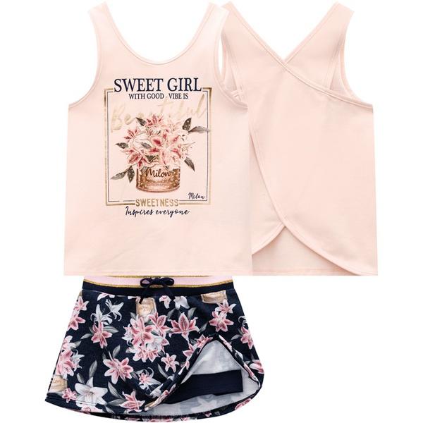 Conjunto Milon infantil Feminino estampa Floral e Strass Tamanho 4 ao 12